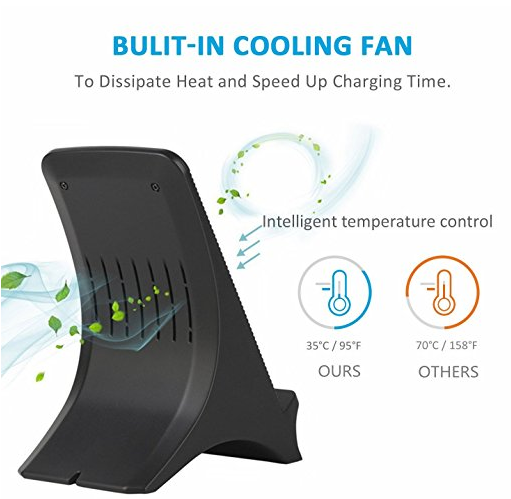 Fuleadture Fast Wireless Charger, 2 Coils Qi Wireless Charger Stand with Cooling Fan for Samsung Galaxy Note 8 S8, iPhone X and Other Qi-Enabled Devices - 副本 - 副本