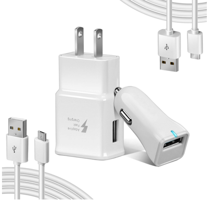 Adaptive Fast Charger Kit for Samsung Galaxy S6 / Galaxy S7 & S7 Edge ,Quick Charge 2.0 Adapter Micro USB 2.0 Cable Kit (Wall Charger + Car Charger + 2 x Micro Cable) for Note 4, S3,and more